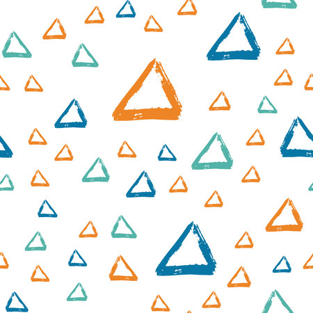 Vector seamless pattern with brush triangle. Blue orange color on white background. Drawing grange texture. Ink geometric elements. Fashion modern style. Repeat fabric backdrop cloth print