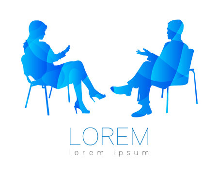 The people talk. Counselling or Psychotherapy session. Man woman talking while sitting. Silhouette profile. Modern symbol . Design concept sign. Blue bright and colorful.