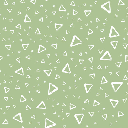 Vector seamless pattern with brush stripes and triangle. White color on green background. Drawing grange texture. Ink geometric elements. Fashion modern style. Repeat fabric backdrop ornament print Иллюстрация