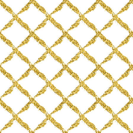 Modern seamless pattern with brush shiny cross plaid. Gold metallic color on white background. Golden glitter texture. Ink geometric elements. Fashion catwalk style. Repeat fabric cloth print tartan.