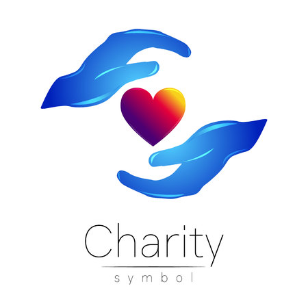 Vector illustration. Symbol of Charity. Sign hand isolated on white background.Blue Icon company, web, card, print. Modern bright element. orphans Help care heart.