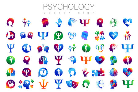 Modern head sign Set of Psychology. Profile Human. Creative style. Symbol in vector. Design concept. Brand company. Green blue orange violet color isolated on white background. Icon for web Stock Illustratie