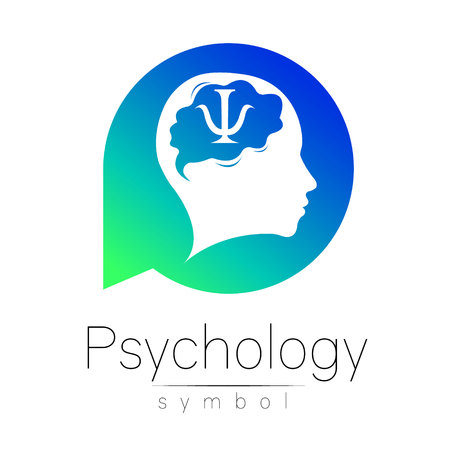 Modern head Sign of Psychology. Human in a circle. Creative style. Icon in vector. Design Brand company. Blue green color isolated on white background. Symbol for web, print. Ilustracja