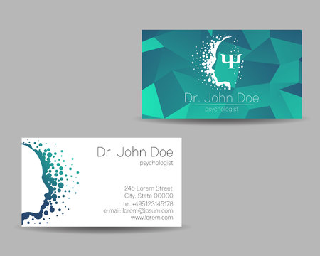 Psychology vector visit card. Modern sign . Creative style. Design concept. Brand company. Green color isolated on grey background. Symbol for web, print. visiting personal set illustration