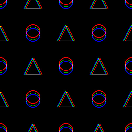 Vector seamless Glitch pattern . Color on black background. Triangle and circle. Digital pixel noise abstract design. Television signal fail. Technical problem grunge wallpaper. Repeat print. Vetores