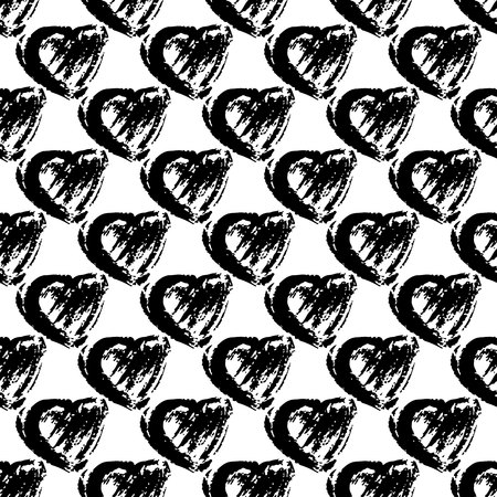 Vector seamless pattern with brush heartss. Black color on white background. Hand painted grange texture. Ink grange elements. Decorative ornament of love sign. Repeat fabric print.