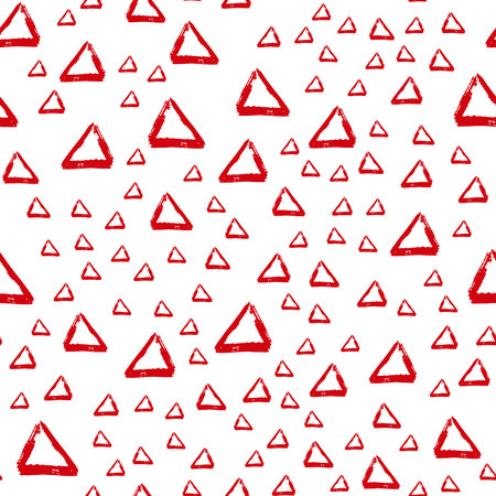 Vector seamless pattern with brush stripes and triangle. Red color on white background. Drawing grange texture. Ink geometric elements. Fashion modern style. Repeat fabric backdrop ornament print Фото со стока