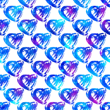 seamless pattern with brush hearts. Blue color on white background. Hand painted grange texture. Ink grange elements. Decorative ornament of love sign. Repeat fabric print.