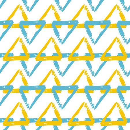 Vector seamless pattern with brush stripes and triangle. Blue yellow color on white background. Drawing grange texture. Ink geometric elements. Fashion modern style. Repeat fabric backdrop cloth print.
