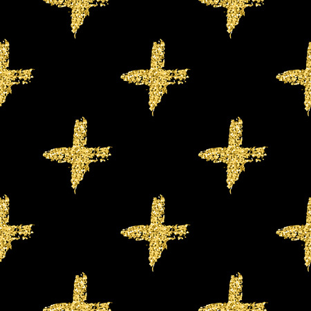Modern seamless pattern with brush shiny cross. Gold metallic color on black background. Golden glitter texture. Ink geometric elements. Fashion catwalk style. Repeat fabric cloth print, textile.