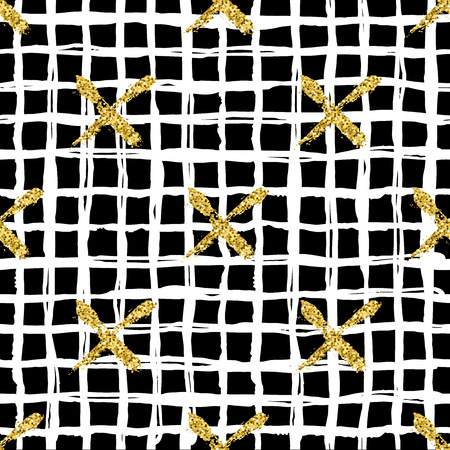 Modern seamless pattern with brush stripes plaid and cross. White, gold metallic color on black background. Golden glitter texture. Ink geometric elements. Fashion catwalk style. Repeat fabric cloth