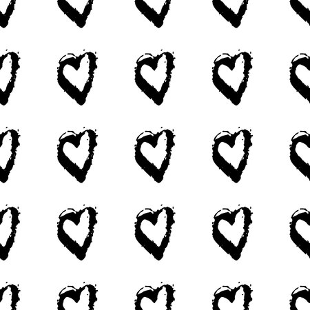Vector seamless pattern with brush heartss. Black color on white background. Hand painted grange texture. Ink grange elements. Decorative ornament of love sign. Repeat kid fabric print