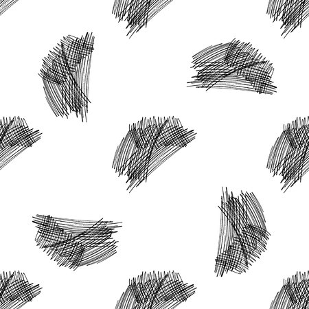 Vector seamless pattern with brush stripes and strokes. Black color on white background. Hand painted plaid texture. Ink geometric elements. Fashion modern style. Endless fabric check print Иллюстрация