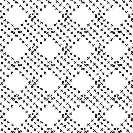 Vector seamless pattern with brush doodle kid plaid . Black color on white background. Hand painted plaid texture. Ink geometric elements. Child simple style. Repeat fabric check print