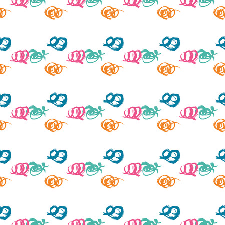 Vector seamless pattern with brush wave swirl. Blue pink orange color on white background. Hand painted grange texture. Ink geometric elements. Fashion modern style. Endless fabric print.