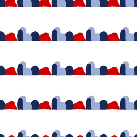 Vector seamless pattern with brush stripes and dots. Blue red color on white background. Hand painted plaid texture. Ink geometric elements. Fashion modern style. Endless fabric check print