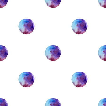 Vector Seamless pattern of watercolor Blue spots . Rainbow wallpaper. Cool print. Modern design. Creative style. On white background. Stockfoto