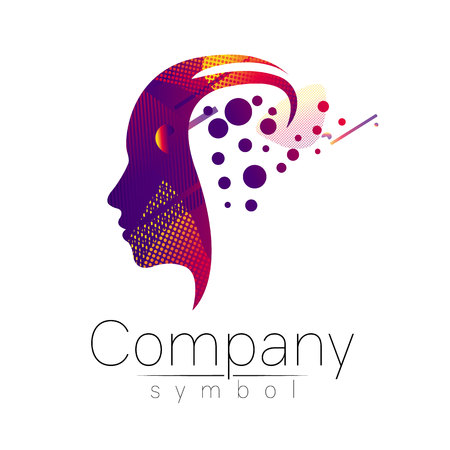 Modern head logo of Company Brand . Profile Human. Fluid style. Logotype in vector. Design concept. Gradient liquid isolated on white background. Abstract geometric shapes. Red violet color