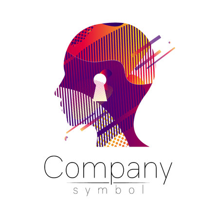 Modern head logo of Company Brand . Profile Human with keyhole . Fluid style. Logotype in vector. Design concept. Gradient liquid isolated on white background. Abstract geometric shapes. Red violet Ilustração