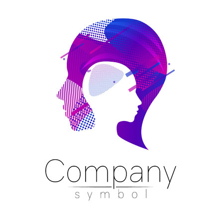 Modern head logo of Company Brand . Profile Human. Fluid style. Logotype in vector. Design concept. Gradient liquid isolated on white background. Abstract geometric shapes. Blue violet color