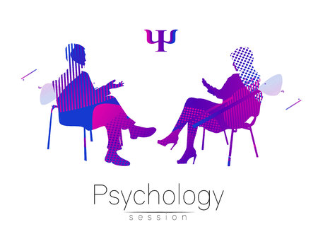 The psychologist and the client. Psychotherapy. Abstract geometric shapes. . Fluid style. Psychological counseling. Man woman talking while sitting. Illustration