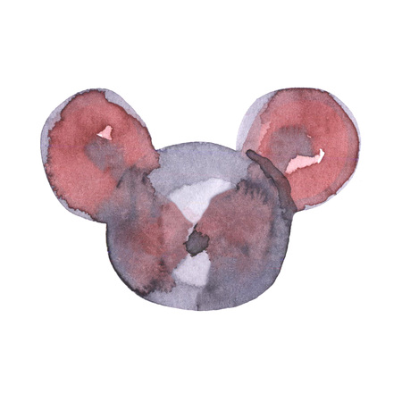 Mouse watercolour illustration. Funny icon of animal. Grey rat with pink ears isolated on white background. 2020 new year painting symbol. Drawing art object for design