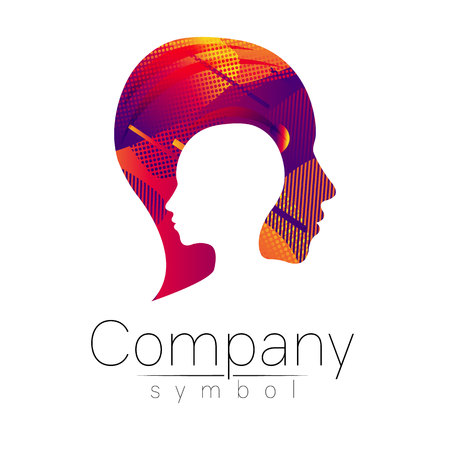 Modern head logo of Company Brand . Profile Human. Fluid style. Logotype in vector. Design concept. Gradient liquid isolated on white background. Abstract geometric shapes. violet color