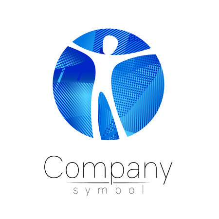 Modern head logo of Company Brand . Human in the circle . Fluid style. Logotype in vector. Design concept. Gradient liquid isolated on white background. Abstract geometric shapes. Blue color