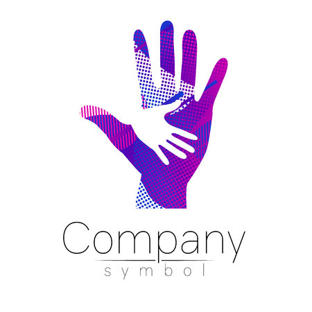 Vector illustration. Symbol of Charity. Sign hand isolated on white background.Blue Icon company, web, card, print. Modern bright element. Charity for orphans Help kids campaign. Family children image Stock Illustratie