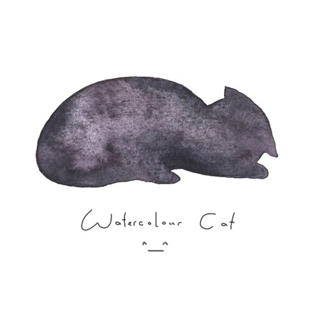 Watercolour gray black cat isolated on white background. Cute simple animal hand drawn. Illustration style. Sign or symbol of a kitten. Paint element. Watercolor happy pet. Kids image.