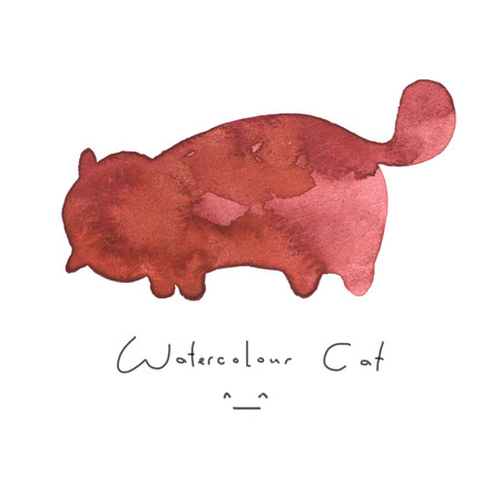 Watercolour red cat isolated on white background. Cute simple animal hand drawn. Illustration style. Sign or symbol of a kitten. Paint element. Watercolor happy pet. Kids image. Stock Photo