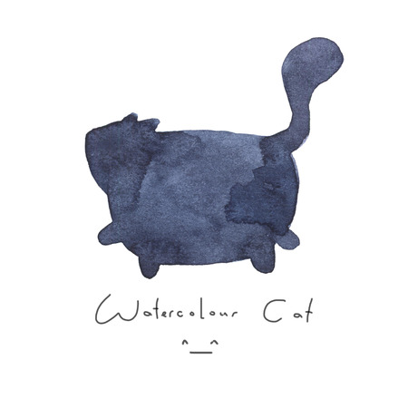 Watercolour gray black blue cat isolated on white background. Cute simple animal hand drawn. Illustration style. Sign or symbol of a kitten. Paint element. Watercolor happy pet. Kids image.