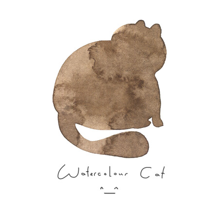 Watercolour brown cat isolated on white background. Cute simple animal hand drawn. Illustration style. Sign or symbol of a kitten. Paint element. Watercolor happy pet. Kids image