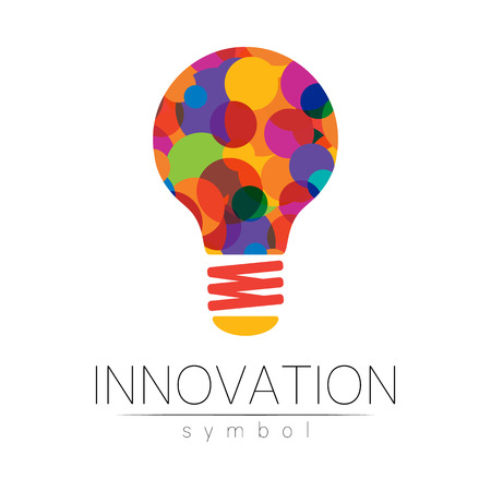 Logo sign of innovation in science. Lamp symbol for concept, business, technology, creative idea, web. Rainbow color isolated on white background. Logotype in vector. Futuristic design style.