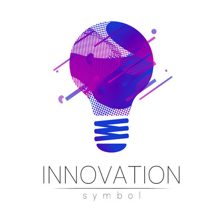 Logo sign of innovation in science. Lamp symbol for concept, business, technology, creative idea, web. Blue fluid color isolated on white background. Logotype in vector. Futuristic design style