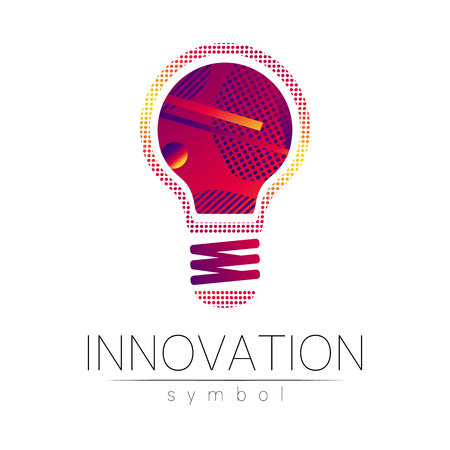Logo sign of innovation in science. Lamp symbol for concept, business, technology, creative idea, web. Red violet color isolated on white background. Logotype in vector. Futuristic design style.