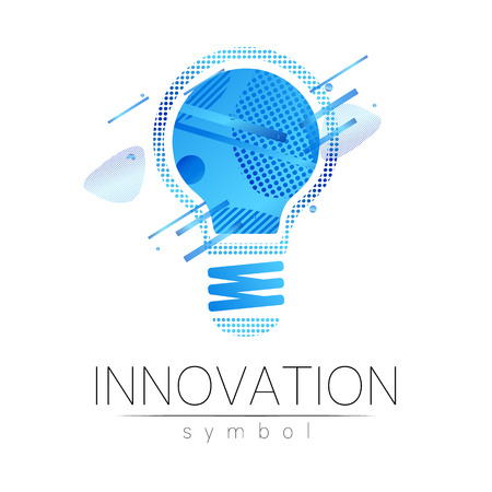 Logo sign of innovation in science. Lamp symbol for concept, business, technology, creative idea, web. Blue fluid color isolated on white background. Logotype in vector. Futuristic design style.