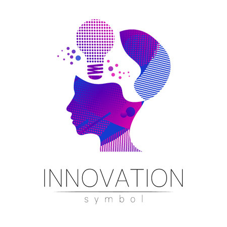 Logo sign of innovation in science. Lamp symbol and human head for concept, business, technology, creative idea, web. Rainbow color isolated on white background. Logotype in vector. Futuristic design