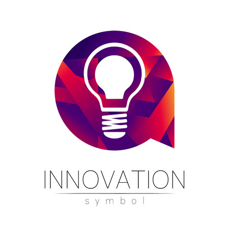 Logo sign of innovation in science. Lamp symbol for concept, business, technology, creative idea, web. Red violet olor isolated on white background. Logotype in vector. Futuristic design style.