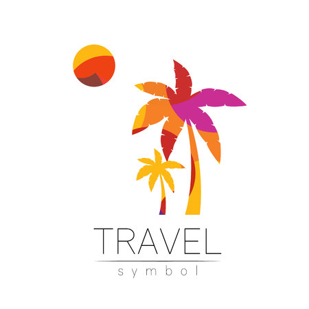 Palm tree, sun vector silhouette isolated on white background. Palma symbol, yellow modern style of color. Logotype for travel, tourism and trip agency. Identity, brand, logo, concept web Summer icon