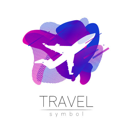 Aircraft vector silhouette isolated on liquid background. Airplane symbol, rainbow modern style of color. Logotype for travel, tourism and trip agency. Identity, brand logo, concept web. Summer plane