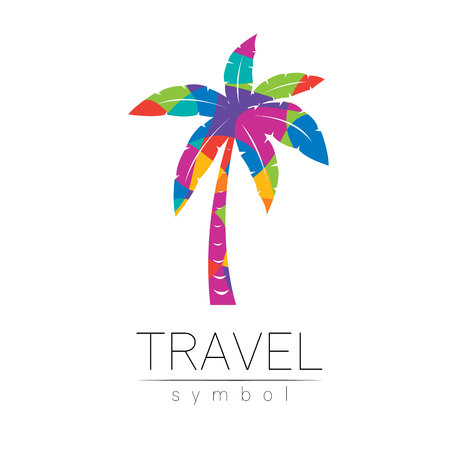 Palm tree vector silhouette isolated on white background. Palma symbol, rainbow modern style of color. Logotype for travel, tourism and trip agency. Identity brand, logo, concept for web. Summer icon