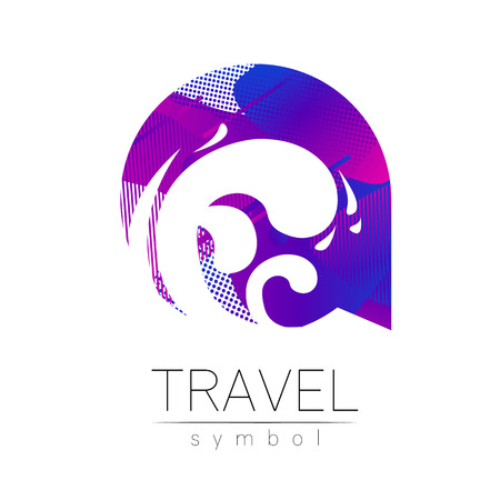 Wave sea vector silhouette isolated on white background. Ocean symbol, blue modern style of color. Logotype for travel, tourism and trip agency Identity, brand logo concept for web. Summer water icon