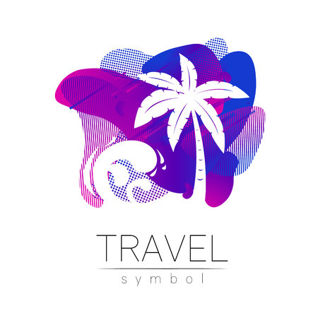 Palm tree vector silhouette at liquid background. Palma symbol, violet, blue modern style of color. Logotype for travel, tourism and trip agency. Identity, brand, logo, concept for web. Summer icon.
