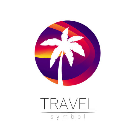 Palm tree vector silhouette in circle isolated on white background. Palma symbol, violet modern style of color. Logotype for travel, tourism and trip agency. Identity, brand, logo, concept web Summer Ilustração