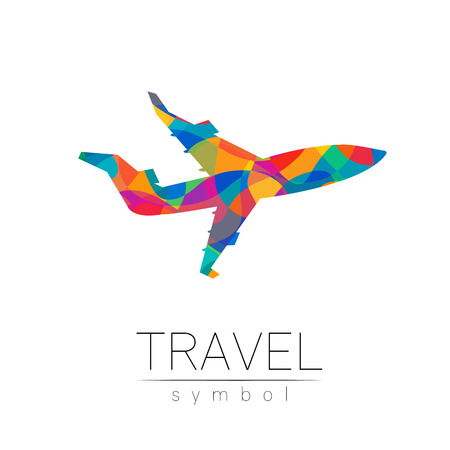 Aircraft vector silhouette isolated on white background. Airplane symbol, rainbow modern style of color. Logotype for travel, tourism and trip agency. Identity, brand, logo, concept web. Summer plane. Ilustração