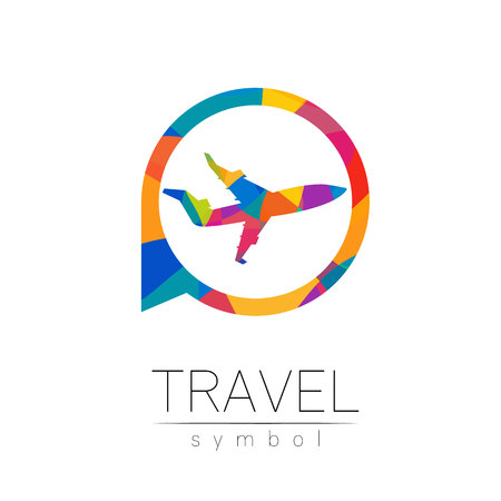 Aircraft vector silhouette isolated in the circle. Airplane symbol, rainbow modern style of color. Logotype for travel, tourism and trip agency. Identity, brand, logo, concept web. Summer plane icon