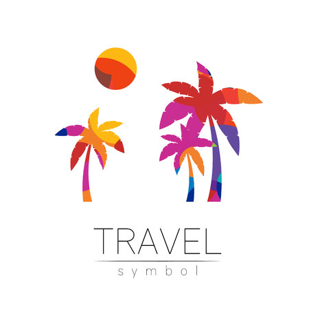 Palm tree, sun vector silhouette isolated on white background. Palma symbol, yellow modern style of color. Logotype for travel, tourism and trip agency. Identity, brand, logo, concept web Summer icon Banco de Imagens - 118401650