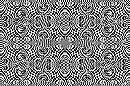 Hypnotic optical illusion in black and white color. Vision 3D geometric background. Abstract optic modern shape in circle. Creative wallpaper for web, print, card, screen Stock Photo
