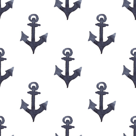 Anchor in indigo color painting. Watercolor art drawing. Sea blue colour. Ocean symbol . Seamless pattern for fabric, textile, background, decoration kid illustration. silhouette element for design. Banco de Imagens